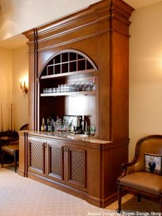 #Custom Built In Mahogany #Bar By Architectural Details.