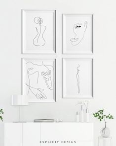 A Line Drawing Set of Printable Minimalist Kiss, Woman Body Print Bundle of Four Continuous Female Face Wall Art, Feminine Prints. - Custom order, free if you want to exchange one or two pieces of art in a set. You can print from an - Tanz Poster, Frames On Wall, Framed Wall Art, White Frames, Back Art, Inspirational Wall Art, Line Drawing, Body Drawing, Drawing Faces
