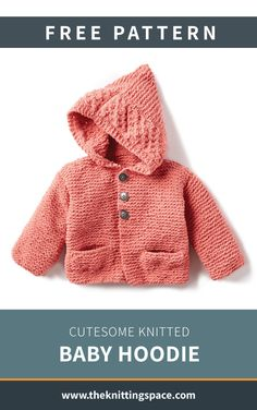 Keep your little one warm and cozy this coming fall and winter seasons with this simple knitted baby hoodie. Make this in various colors for daily wear. | Discover over 3,000 free knitting patterns at theknittingspace.com #knitpatternsfree #knittingforbabies #babyshowergifts #christeninggifts #baptismalgifts #handmadegifts #DIY #nurseryideas