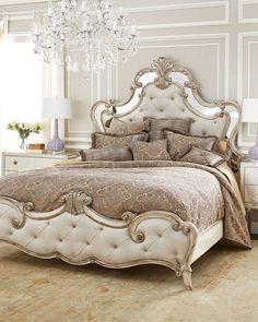 Hadleigh King Bed Fancy Bedroom, Royal Bedroom, Bedroom Bed, Bedroom Decor, Master Bedroom, Classic Bedroom Furniture, Mirrored Furniture, Hooker Furniture, Glass Furniture