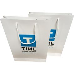 Paper bags with rope handle. Logo printed