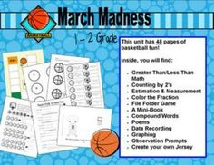 $7.00 March Madness Unit.  Common Core Math and Language Arts.  Includes Science and Art