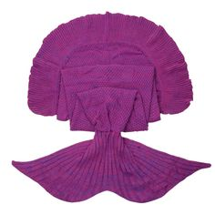 iEFiEL Purple  Handcrafted Knitted Mermaid Tail Blanket Sleeping Bag for Adult