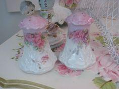 Vintage Pink Rose Salt and Pepper Shakers