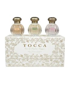Our Classic Eau de Parfum Viaggio features Stella, Florence and Cleopatra Eau de Parfum in three Old World inspired, beautifully collectible bottles. Each set contains 3 x 0.15 mL / 0.5 fl oz bottles of fragrance - travel-friendly and perfectly giftable. Key Notes: Cleopatra: Grapefruit, Jasmine, Tuberose, Rich Vanilla Musk Florence: Bergamot, Pear, Gardenia, Soft Woods Stella: Blood orange, Freesia, Spicy Lily, Sandalwood.   Fine Fragrance by Tocca Fragrances. Home & Gifts - Gifts - Scents…
