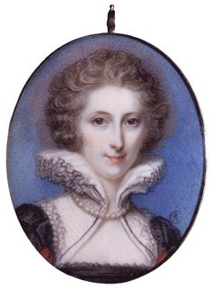 A miniature watercolor portrait done on ivory of Anne Seymour Damer. By Richard Cosway, 1785. An eccentric and artistic aristocrat, Anne Seymour was descended from the Lord Protector Edward Seymour, the brother of Henry VIII's third wife, Jane Seymour.