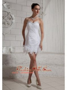 2013 Sweetheart Beaded Feather Mini-length Wedding Dress For Custom Made  http://www.fashionos.com   lace up back mini length wedding dress | mini length wedding dresses with flowers