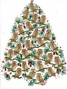Owl Christmas Tree - Happy Holidays Chi Omega!