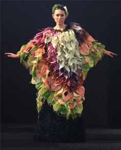 Unique Tropical flower-covered dress.