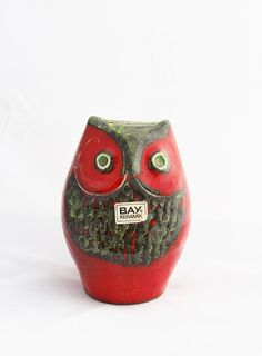 Mod Red Owl Fat Lava Pottery Money Bank / Midcentury by TheBlueRam