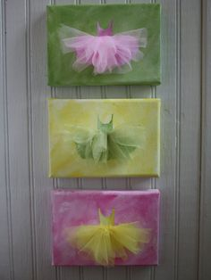 What little girl wouldn't love this set of three ballerina paintings topped off with a coordinating tulle tutu?