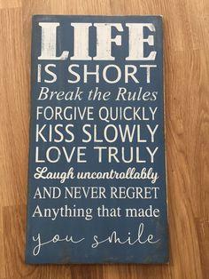 Holzschild Never Regret, Short Break, Facebook Sign Up, Forgiveness, Letting Go