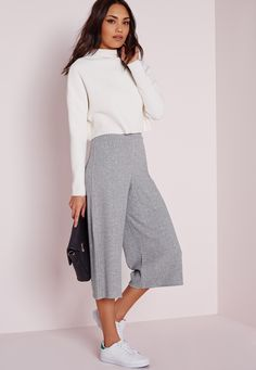 Missguided - Ribbed Culottes Grey