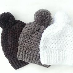 pom pom crochet beanie - knit beanie with pom pom - winter crochet hat - puff stitch crochet hat - knit hat - fall knit hat - winter toque Crochet Mens Scarf, Crochet Beanie, Knitted Hats, Fall Knitting, Finger Knitting, Puff Stitch Crochet, Crochet Tops, Crochet Crafts, Crochet Projects