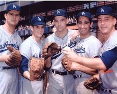 The 1962 Los Angeles Dodgers pitching rotation (L-R): Don Drysdale, Pete Richert, Stan Williams, Sandy Koufax and Johnny Podres.