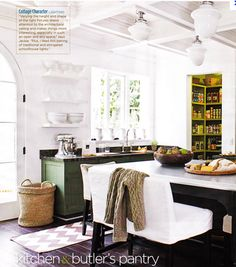 kitchen- swapgreen walls at my house with white ones.Then paint cabs green. Love the floors and peak of green from pantry. And that ceiling!