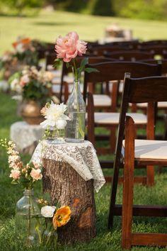 Adore these aisle markers!!! #cedarwoodweddings Rustic Luxe Destination Wedding at Historic Cedarwood | Cedarwood Weddings