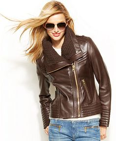 MICHAEL Michael Kors Knit-Trim Leather Jacket... yep. This is what's up for my birthday(in black)