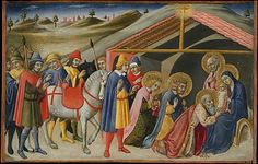 The Adoration of the Magi / Sano di Pietro / Tempera and gold on wood, ca. 1470 / The Metropolitan Museum of Art Medieval Paintings, Renaissance Paintings, Medieval Times, Medieval Art, Italian Renaissance, Christian Art, Ciel, Middle Ages, Metropolitan Museum