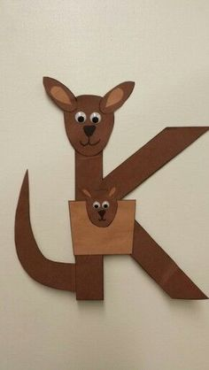 K is for kangaroo. i would probably use it for a lower case k. Preschool Letter Crafts, Alphabet Letter Crafts, Abc Crafts, Preschool Projects, Daycare Crafts, Classroom Crafts, Alphabet Activities, Preschool Activities, Alphabet Book