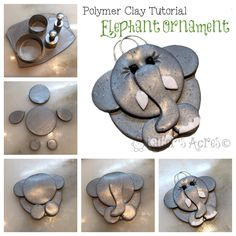 Polymer Clay Elephant Ornament Tutorial This cute little elephant ornament is…