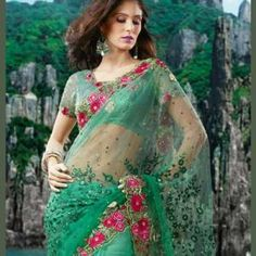 Shaded Green Saree With Thread & Sequins Embroidery | $150.00 | http://goodbells.com/saree/shaded-green-saree-with-thread-and-sequins-embroidery.html