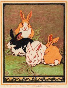"Elizabeth Norton (American, 1887-1985) - ""After Lunch"" (1930) - Color woodcut print"