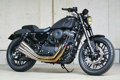 Custom Harley-Davidson XL1200CX Roadster® by Tramp Cycles | Rear set foot controls | Titanium exhaust system | bates style headlight | Piggyback aftermarket shock absorbers | Japan | via ElCorraMotors.blogspot.com