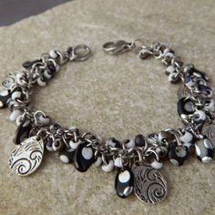 Black and White Spiral Drop Bracelet by WireNWhimsy on Etsy