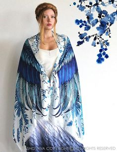 Blue Wings scarf, Hand painted printed Wings and feathers, stunning unique and useful, perfect gift