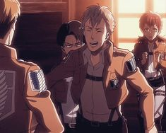 (Gif) Love how Farlan puts actual effort into the most adorable dork salute and Levi is just...