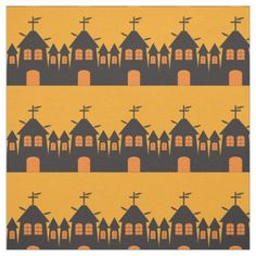 Halloween fabric with haunted houses