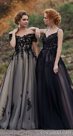 Black Colored wedding dresses by CocoMelody | Black ball gown princess wedding dresses with lace bodice and tulle skirt #weddingdress #weddingdresses #bridalgown #bridal #bridalgowns #weddinggown #bridetobe #weddings #bride #dreamdress #bridalcollection #bridaldress #dress See more gorgeous wedding dresses by clicking on the photo