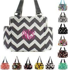 40d1cc4e9c Etsy Personalized Caddy Organizing Utility Tote Bag Monogrammed Zip Top  Pocket Beach Diaper Craft Embroid 31