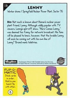 1993 SkyBox The Simpsons #S8 Lenny | Trading Card Database Collector Cards, Trading Card Database, The Simpsons, Trivia, Futurama, Let It Be, How To Plan, Funny, Quizes