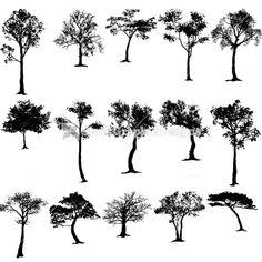 Nature Tree Silhouettes Vector Clip Art Designs