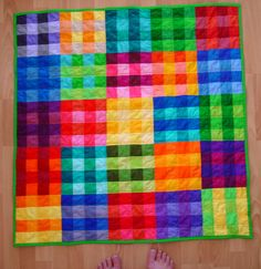 """moderndayquilts: """" This quilt deserves multiple exclamation points! I'm sure my proof-reading-exclamation-hating editor friends would agree. Gingham Quilt by Jenny, an original design featured. Quilting Projects, Quilting Designs, Sewing Projects, Quilting Ideas, Quilt Design, Patch Quilt, Quilt Blocks, Gingham Quilt, Rainbow Quilt"""