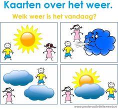 """Nieuw op onze speel-en knutselpagina van www.peuteractiviteitenweb.nl , 7 kaarten over het weer.  """"Welk weer is het vandaag""""?  Goedemorgen mevrouw, goedemorgen meneer, kunt u me vertellen wat is het voor weer? Regent het nu buiten, schijnt de zon vandaag  of waait er harde wind, dat is wat ik vraag!  Goedemorgen mevrouw, goedemorgen meneer,  kunt u me vertellen wat is het voor weer!"""