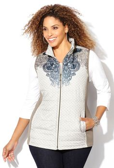 Scroll Print Quilted Vest,