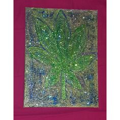 Pot Leaf, Acrylic and Glitter on canvas, 24x18in by iRockstarToteBags on Etsy