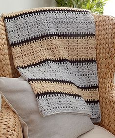 Modern sporty stripes are great for the man of the house or for a son to take with him to the dorm. Crochet it in neutrals or favorite team colors for his relaxation spot.