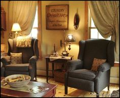 Just loving the cozy set of chairs.  Me too....love wing back chairs with off white slipcovers.