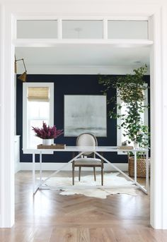 Loving the simple/strong window and base. Painting is lovely. trim Navy Office    Studio McGee
