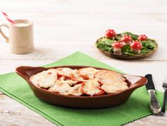 Ovenpasta met spinazie en gesmolten mozzarella (toevoeging aan recept: gebakken spekjes)