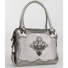 Miss Me Cross Purse ($99) ❤ liked on Polyvore featuring bags, handbags, rhinestone studded handbags, rhinestone purses, handbags purses, zipper purse and metallic purse