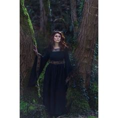 Black Medieval Dress Celtic gown ❤ liked on Polyvore featuring dresses, gowns, celtic dress, embellished dress, cotton gowns, embellished gown and embellished evening gowns