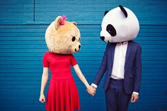 fun panda engagement pictures