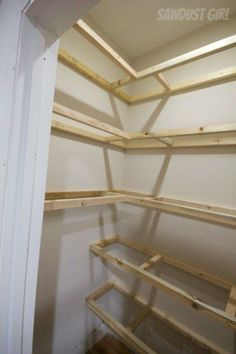 How to Build Corner Floating Shelves - Sawdust Girl® How to build Floating Shelves For tornado shelter/pantry Floating Shelves Bathroom, Bathroom Storage, Bathroom Ideas, Kitchen Storage, Floating Storage Shelves, How To Make Floating Shelves, Kitchen Pantry Design, Floating Desk, Mounted Shelves