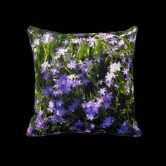 Blue Squill Spring Flowers pillow by #linandara