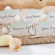Silver Seashell Place Card Holder | Perfect for any beach theme event!